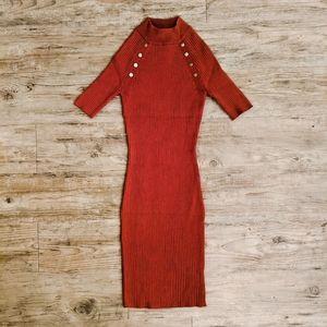 Make OFFER   SVETLANA Studded Burnt Orange Dress